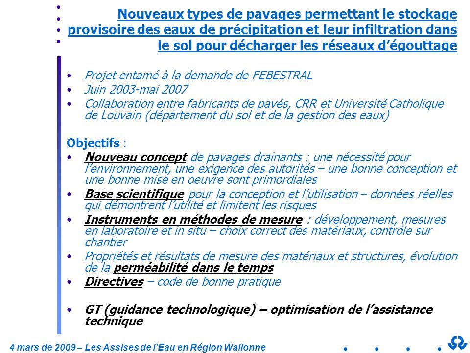 4 mars de 2009 – Les Assises de lEau en Région Wallonne Nouveaux types de pavages permettant le stockage provisoire des eaux de précipitation et leur