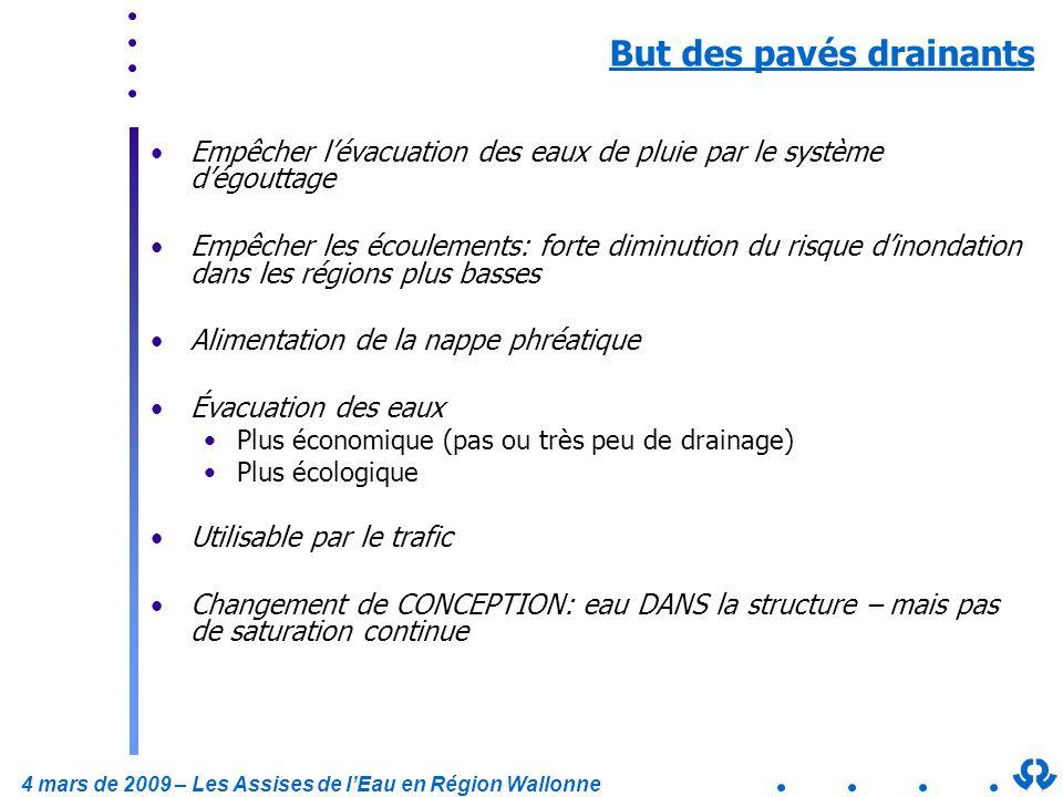 4 mars de 2009 – Les Assises de lEau en Région Wallonne But des pavés drainants Empêcher lévacuation des eaux de pluie par le système dégouttage Empêc