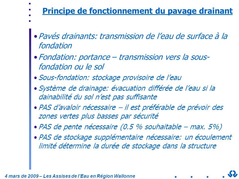 4 mars de 2009 – Les Assises de lEau en Région Wallonne Principe de fonctionnement du pavage drainant Pavés drainants: transmission de leau de surface