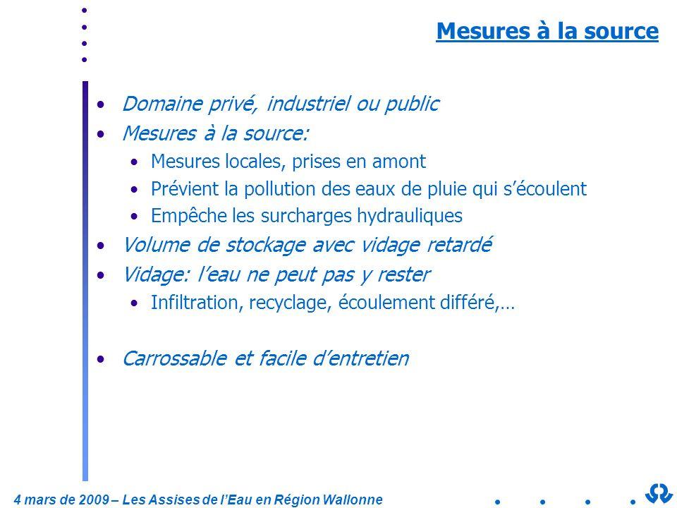 4 mars de 2009 – Les Assises de lEau en Région Wallonne Mesures à la source Domaine privé, industriel ou public Mesures à la source: Mesures locales,