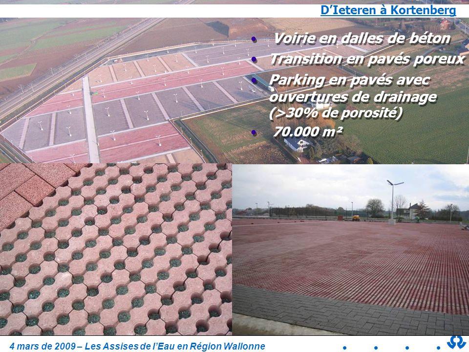 4 mars de 2009 – Les Assises de lEau en Région Wallonne DIeteren à Kortenberg Voirie en dalles de béton Transition en pavés poreux Parking en pavés av