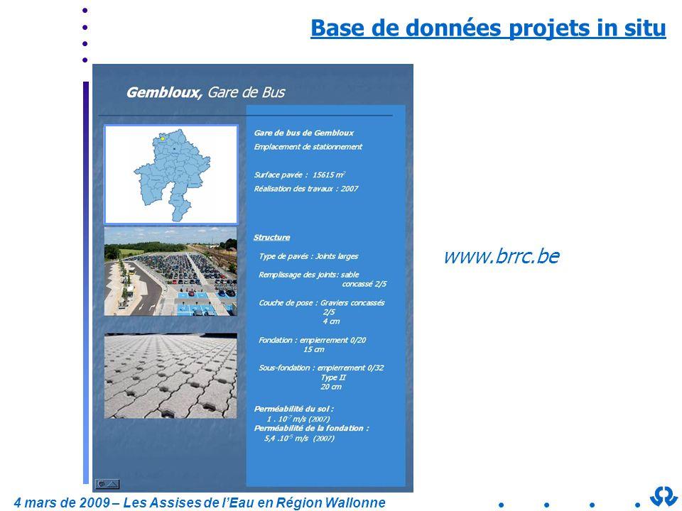 4 mars de 2009 – Les Assises de lEau en Région Wallonne Base de données projets in situ www.brrc.be