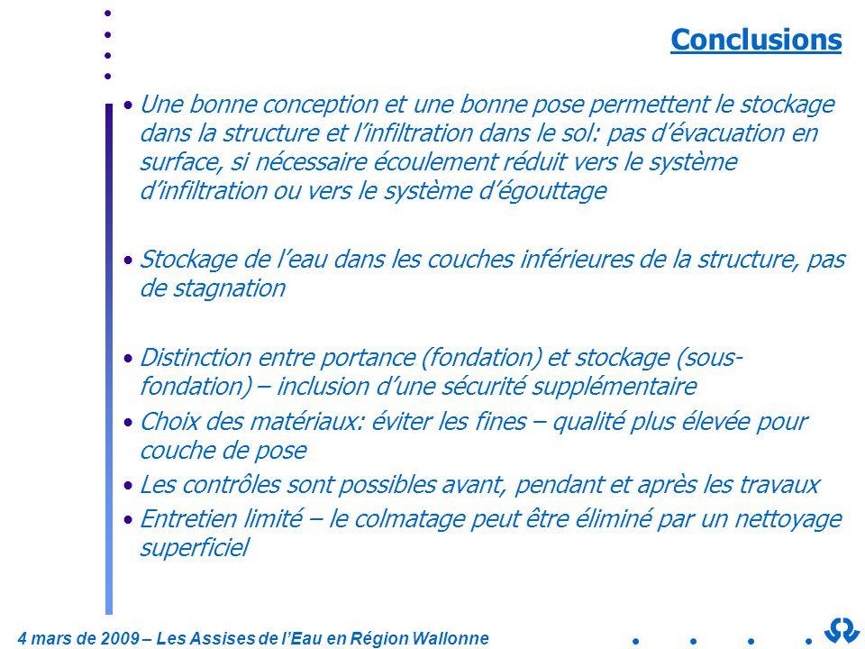 4 mars de 2009 – Les Assises de lEau en Région Wallonne Conclusions Une bonne conception et une bonne pose permettent le stockage dans la structure et