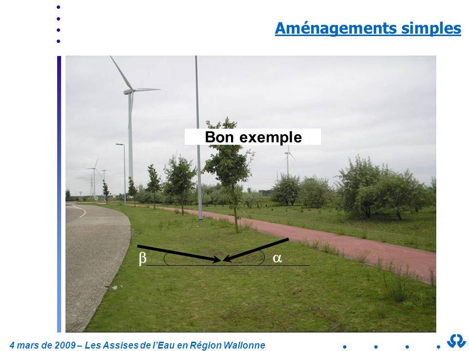 4 mars de 2009 – Les Assises de lEau en Région Wallonne Mauvais exemple Aménagements simples Bon exemple