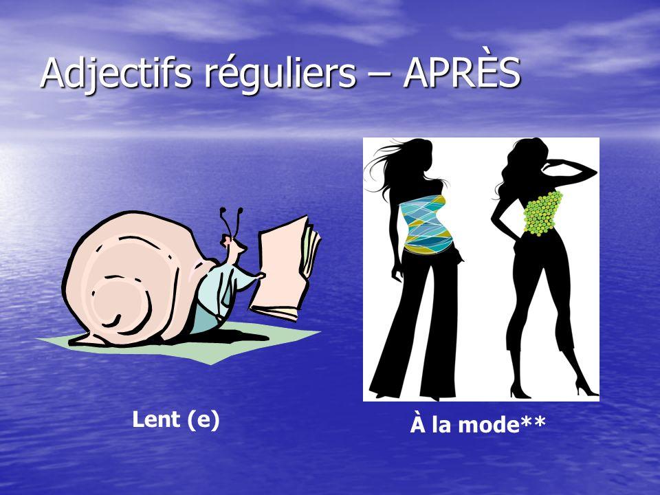 Adjectifs réguliers – APRÈS Lent (e) À la mode**