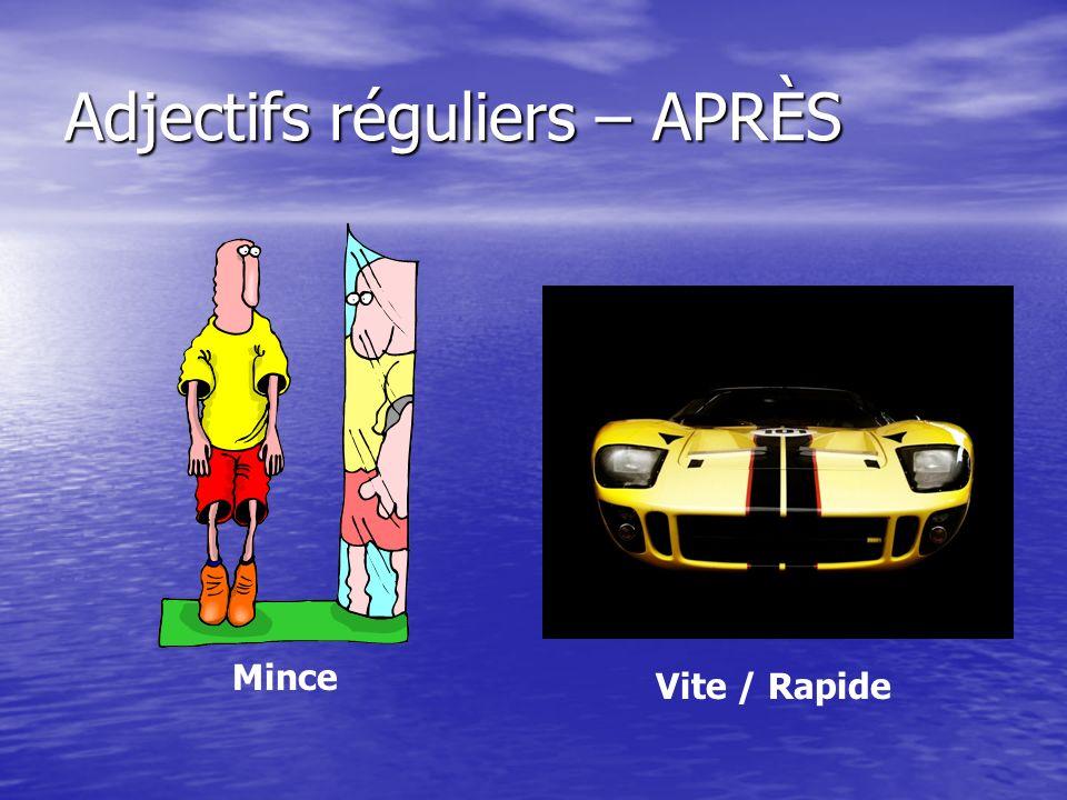 Adjectifs réguliers – APRÈS Mince Vite / Rapide