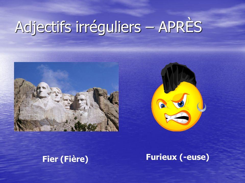 Adjectifs irréguliers – APRÈS Fier (Fière) Furieux (-euse)