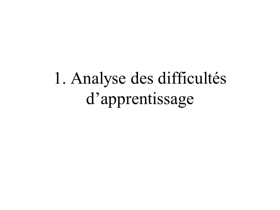 1. Analyse des difficultés dapprentissage