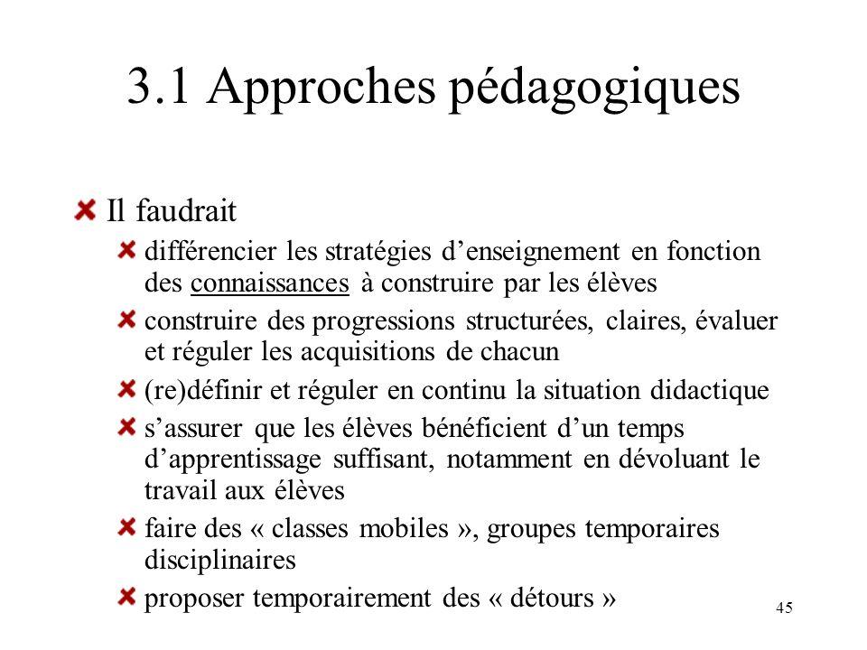 45 3.1 Approches pédagogiques Il faudrait différencier les stratégies denseignement en fonction des connaissances à construire par les élèves construi