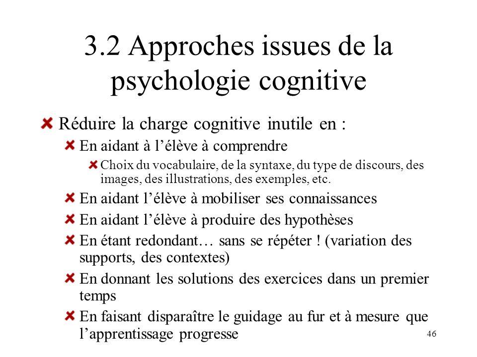 46 3.2 Approches issues de la psychologie cognitive Réduire la charge cognitive inutile en : En aidant à lélève à comprendre Choix du vocabulaire, de