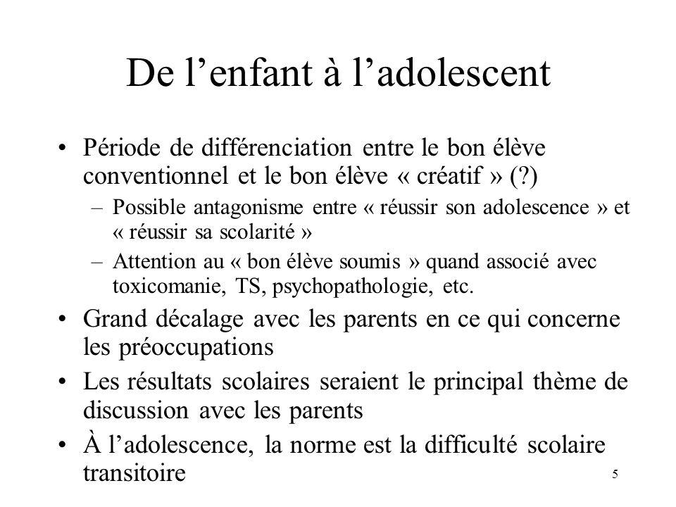 5 De lenfant à ladolescent Période de différenciation entre le bon élève conventionnel et le bon élève « créatif » (?) –Possible antagonisme entre « r
