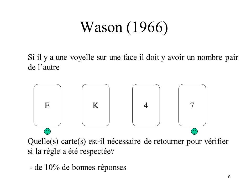 6 Wason (1966) EK47 Quelle(s) carte(s) est-il nécessaire de retourner pour vérifier si la règle a été respectée ? Si il y a une voyelle sur une face i