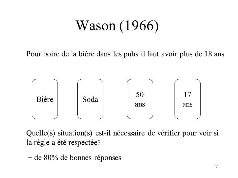 7 Wason (1966) BièreSoda 17 ans 50 ans Quelle(s) situation(s) est-il nécessaire de vérifier pour voir si la règle a été respectée ? Pour boire de la b