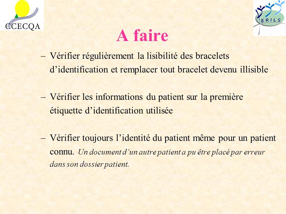 A faire –Vérifier régulièrement la lisibilité des bracelets didentification et remplacer tout bracelet devenu illisible –Vérifier les informations du