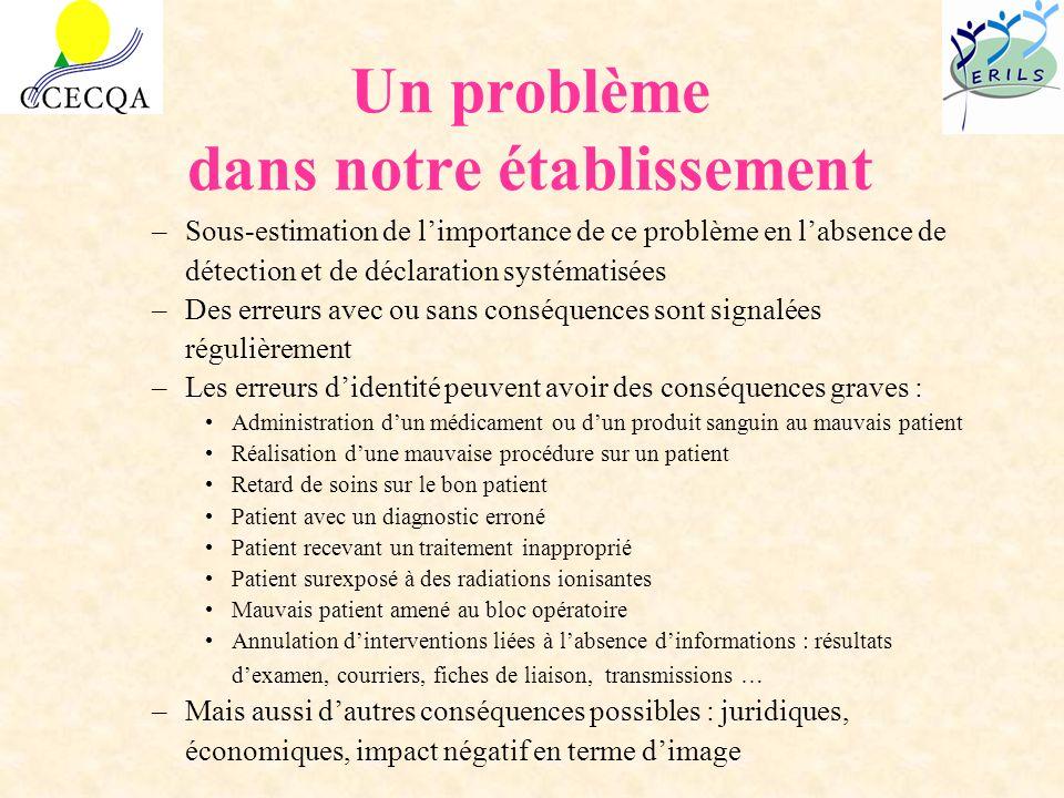 Un problème dans notre établissement –Sous-estimation de limportance de ce problème en labsence de détection et de déclaration systématisées –Des erre