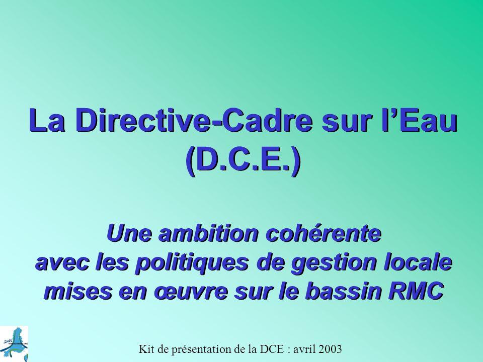Kit de présentation de la DCE : avril 2003 A 5-4 Le programme de mesures (2009) … pour atteindre les objectifs fixés par le plan de gestion mesures principalement dordre réglementaire relevant de lEtat … mais aussi des mesures complémentaires tels que incitations économiques, code de bonne pratiques,...