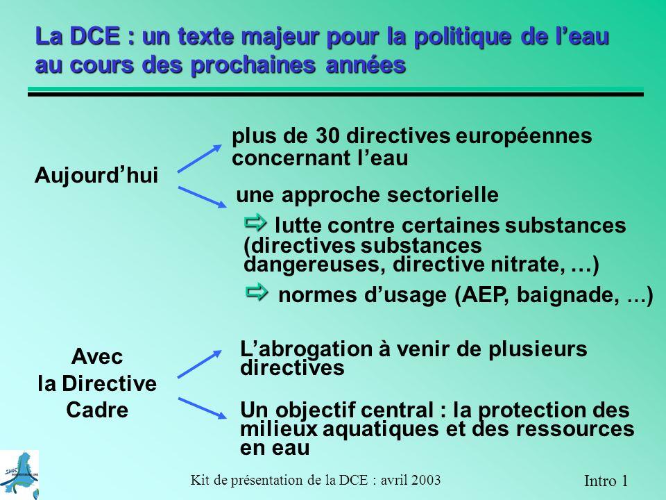 Kit de présentation de la DCE : avril 2003 bon potentiel Objectif : bon potentiel en 2015 Milieu fortement modifié A 3-3 Exemple dapplication de la DCE sur un bassin versant dans le plan de gestion 2009