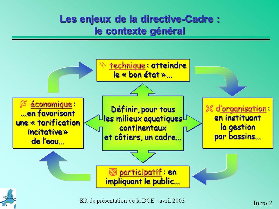 Kit de présentation de la DCE : avril 2003 2021 Objectif : bon état en 2021 A 3-4 Exemple dapplication de la DCE sur un bassin versant dans le plan de gestion 2009