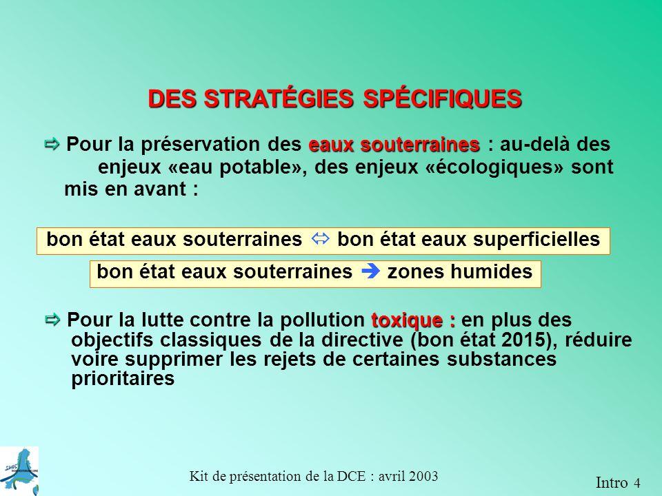 Kit de présentation de la DCE : avril 2003 Objectif : bon état en 2015 Objectif : bon potentiel en 2015 Objectif : bon état en 2021 Objectif : bon état en 2015 A 3-6 exemple dapplication de la DCE sur un bassin versant dans le plan de gestion 2009
