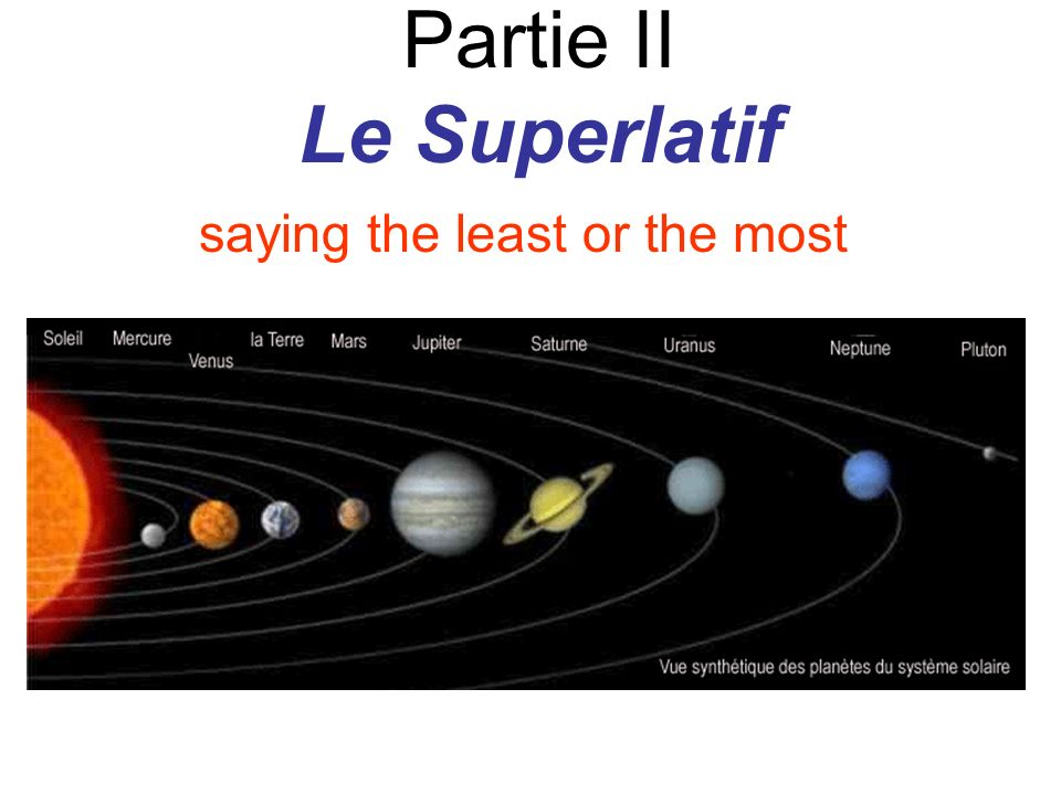 Partie II Le Superlatif saying the least or the most