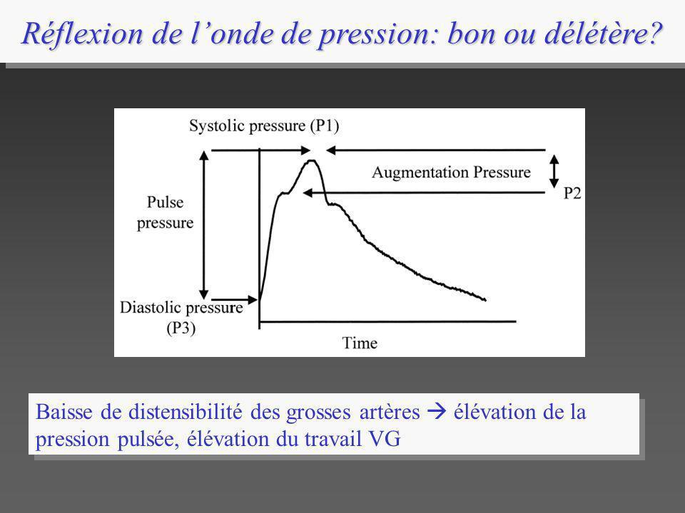 Réflexion de londe de pression: bon ou délétère? Baisse de distensibilité des grosses artères élévation de la pression pulsée, élévation du travail VG