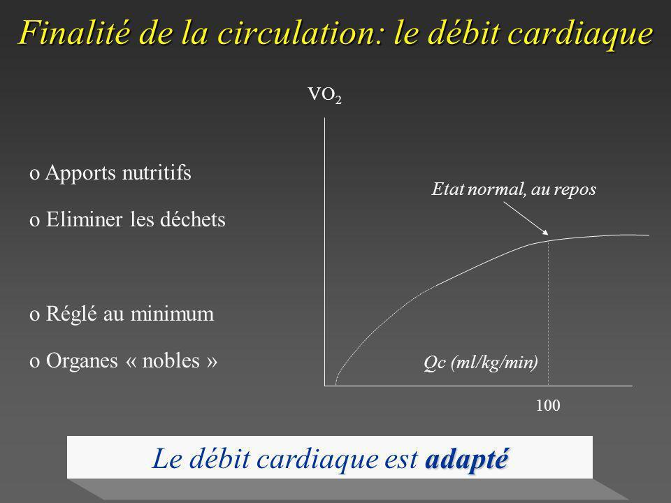 Finalité de la circulation: le débit cardiaque o Apports nutritifs o Eliminer les déchets o Réglé au minimum o Organes « nobles » 100 Qc (ml/kg/min) V