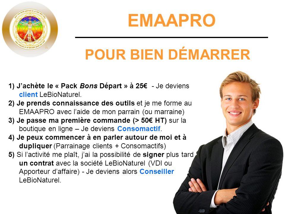 EMAAPRO POUR BIEN DÉMARRER 1) Jachète le « Pack Bons Départ » à 25 - Je deviens client LeBioNaturel.