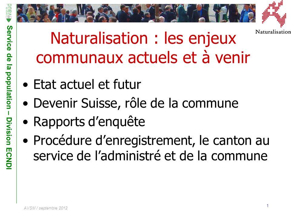 Service de la population – Division ECNDI 1 AVSM / septembre 2012 Naturalisation : les enjeux communaux actuels et à venir Etat actuel et futur Deveni