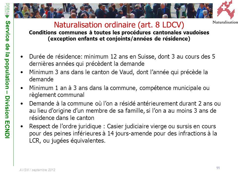 Service de la population – Division ECNDI 11 AVSM / septembre 2012 Naturalisation ordinaire (art. 8 LDCV) Conditions communes à toutes les procédures