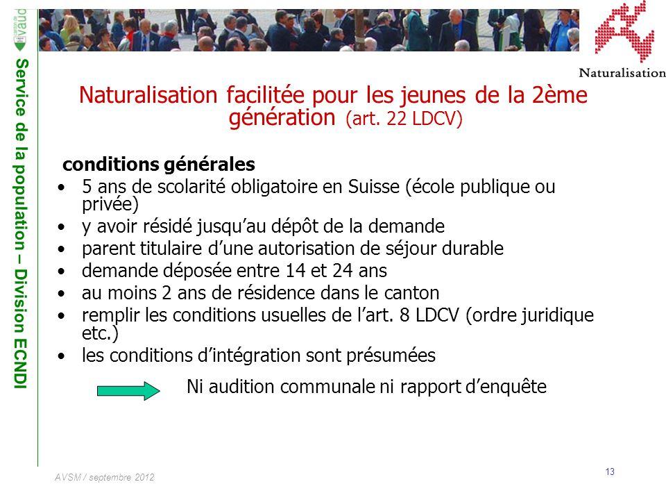 Service de la population – Division ECNDI 13 AVSM / septembre 2012 Naturalisation facilitée pour les jeunes de la 2ème génération (art. 22 LDCV) condi