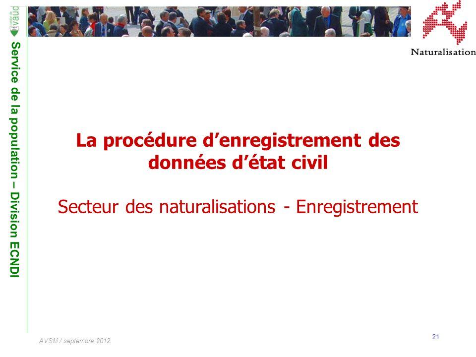 Service de la population – Division ECNDI 21 AVSM / septembre 2012 La procédure denregistrement des données détat civil Secteur des naturalisations -