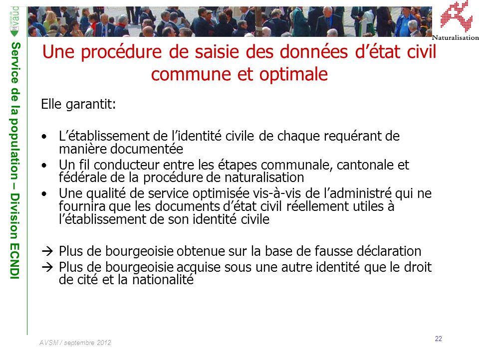 Service de la population – Division ECNDI 22 AVSM / septembre 2012 Une procédure de saisie des données détat civil commune et optimale Elle garantit: