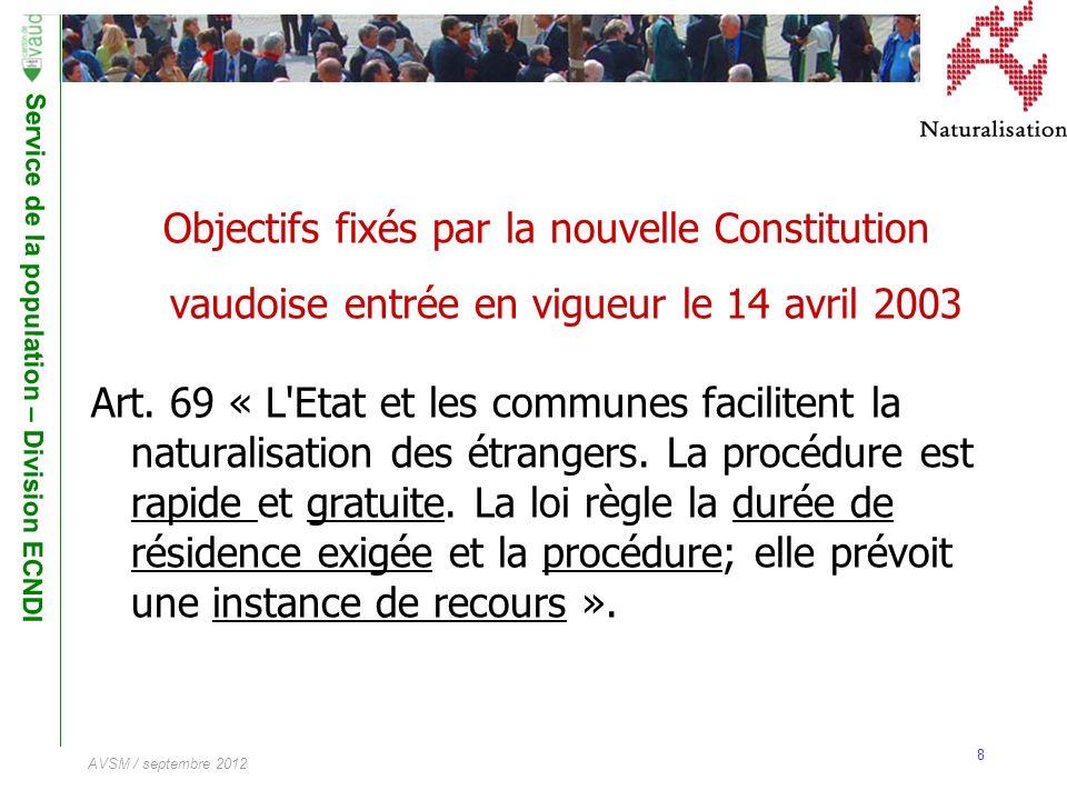Service de la population – Division ECNDI 8 AVSM / septembre 2012 Objectifs fixés par la nouvelle Constitution vaudoise entrée en vigueur le 14 avril