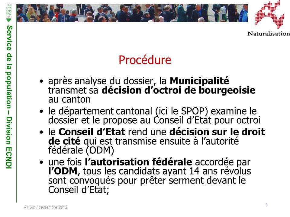 Service de la population – Division ECNDI 9 AVSM / septembre 2012 Procédure après analyse du dossier, la Municipalité transmet sa décision doctroi de