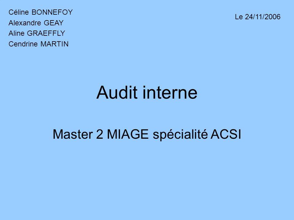 Audit interne Master 2 MIAGE spécialité ACSI Céline BONNEFOY Alexandre GEAY Aline GRAEFFLY Cendrine MARTIN Le 24/11/2006