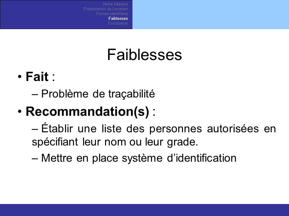 Fait : – Problème de traçabilité Recommandation(s) : – Établir une liste des personnes autorisées en spécifiant leur nom ou leur grade.
