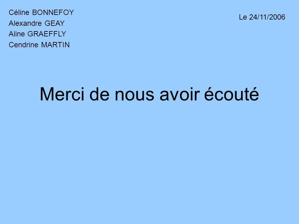 Merci de nous avoir écouté Céline BONNEFOY Alexandre GEAY Aline GRAEFFLY Cendrine MARTIN Le 24/11/2006