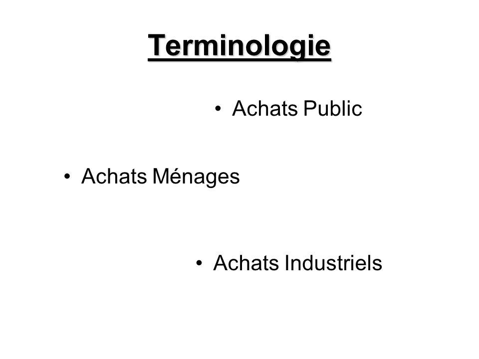 Terminologie Achats Industriels Achats Ménages Achats Public