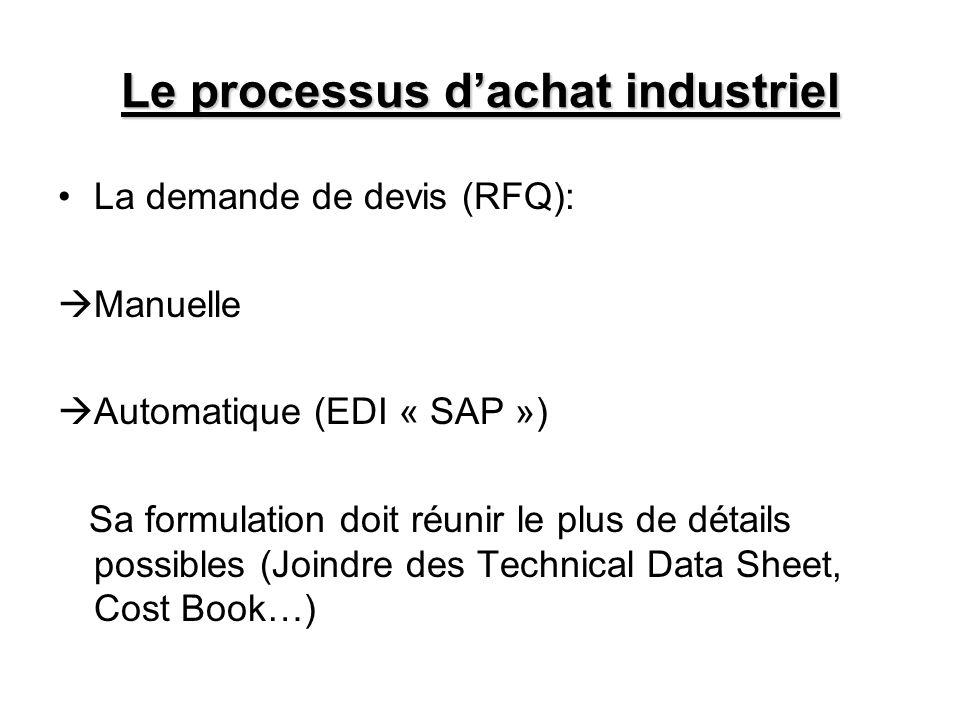 Le processus dachat industriel La demande de devis (RFQ): Manuelle Automatique (EDI « SAP ») Sa formulation doit réunir le plus de détails possibles (