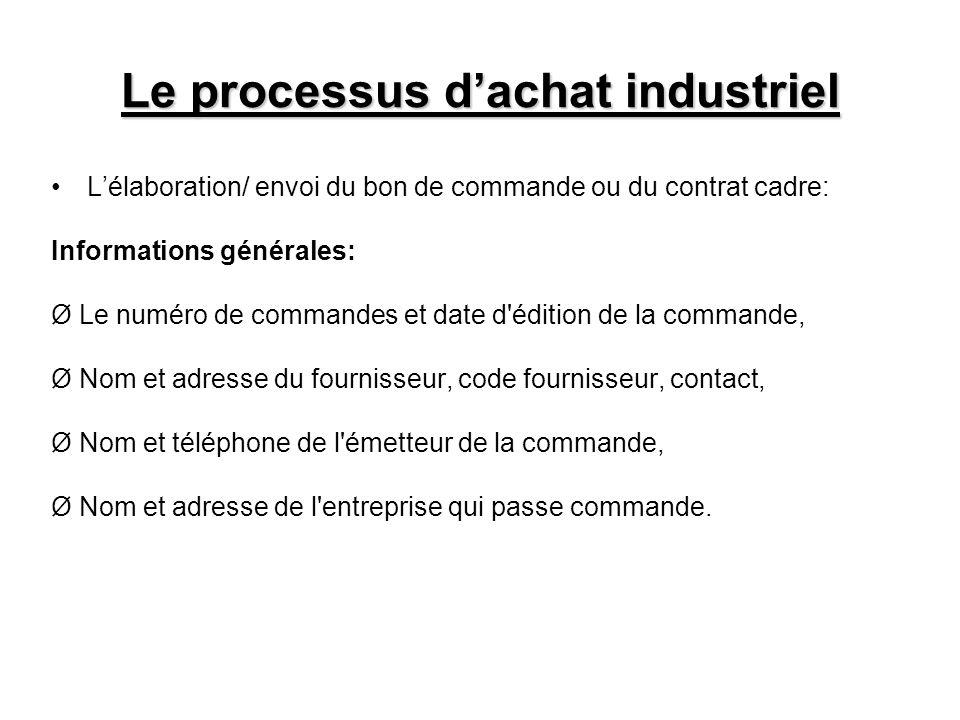 Le processus dachat industriel Lélaboration/ envoi du bon de commande ou du contrat cadre: Informations générales: Ø Le numéro de commandes et date d'