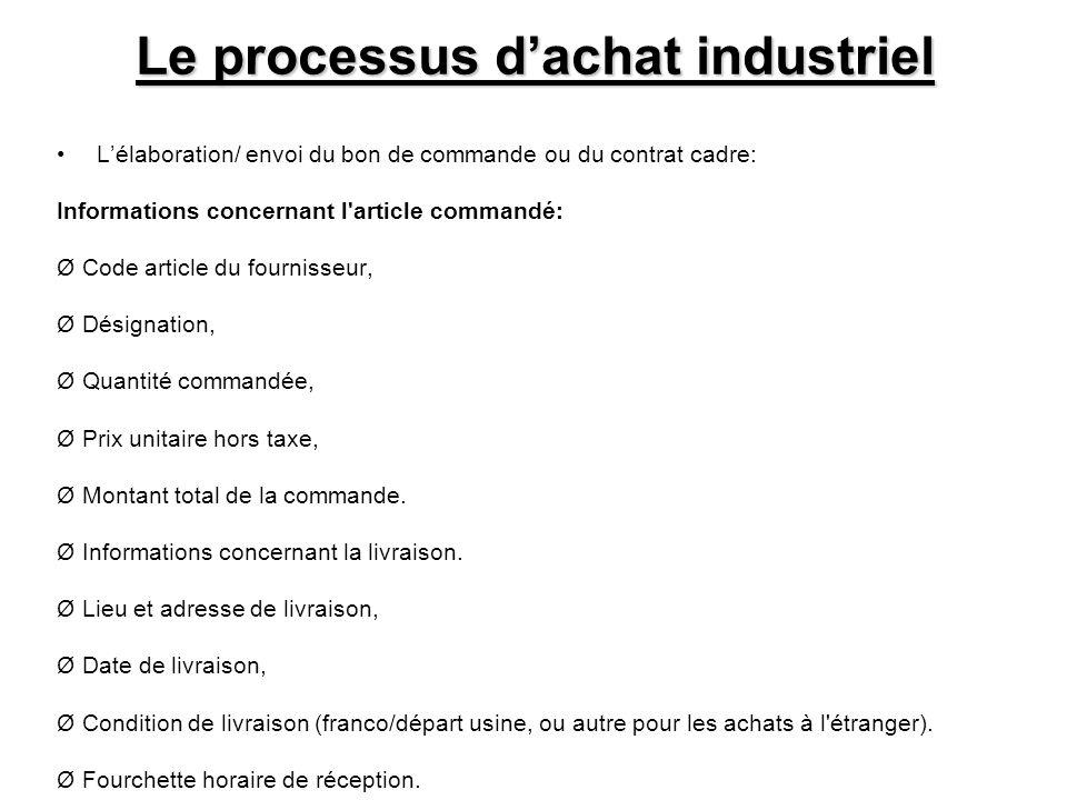 Le processus dachat industriel Lélaboration/ envoi du bon de commande ou du contrat cadre: Informations concernant l'article commandé: Ø Code article