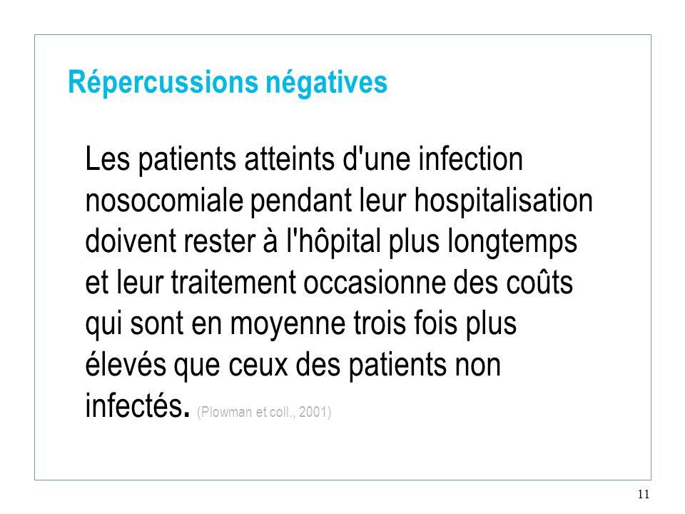 11 Répercussions négatives Les patients atteints d'une infection nosocomiale pendant leur hospitalisation doivent rester à l'hôpital plus longtemps et