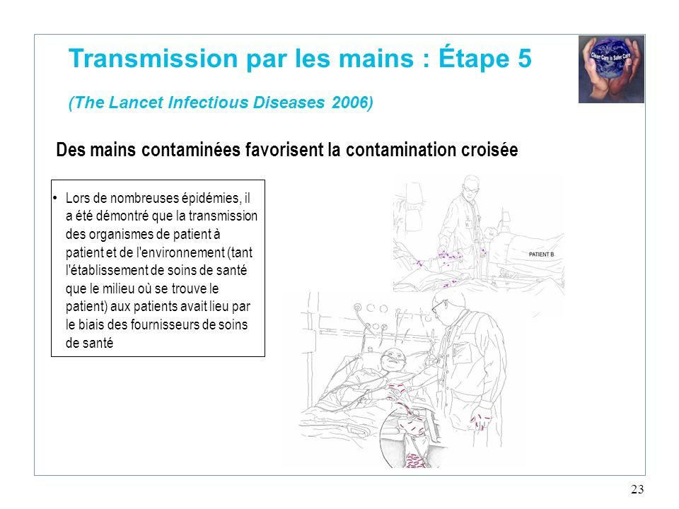 23 Transmission par les mains : Étape 5 (The Lancet Infectious Diseases 2006) Lors de nombreuses épidémies, il a été démontré que la transmission des
