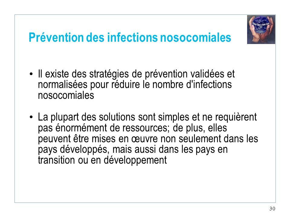 30 Prévention des infections nosocomiales Il existe des stratégies de prévention validées et normalisées pour réduire le nombre d'infections nosocomia