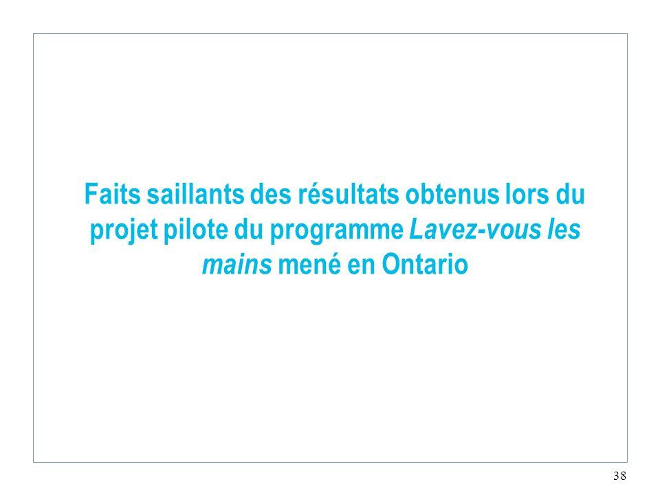 38 Faits saillants des résultats obtenus lors du projet pilote du programme Lavez-vous les mains mené en Ontario