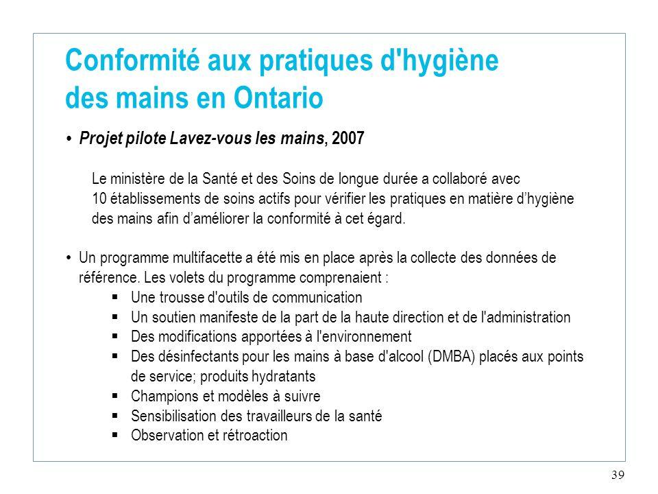 39 Conformité aux pratiques d'hygiène des mains en Ontario Projet pilote Lavez-vous les mains, 2007 Le ministère de la Santé et des Soins de longue du