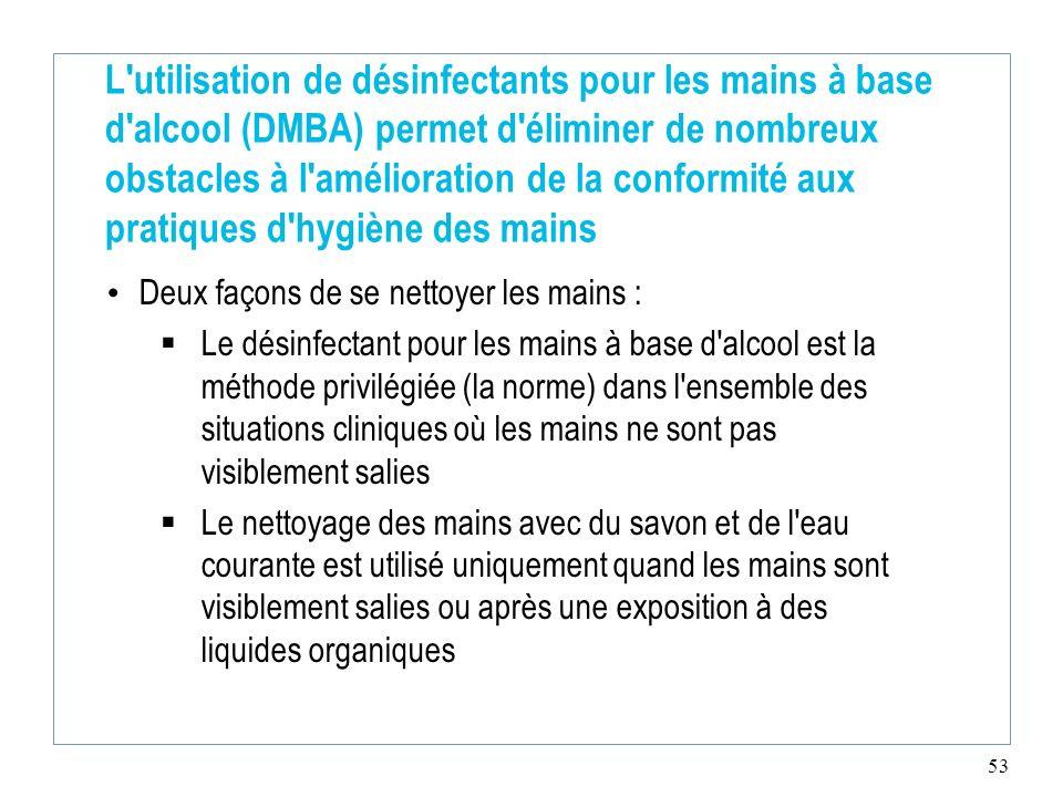 53 L'utilisation de désinfectants pour les mains à base d'alcool (DMBA) permet d'éliminer de nombreux obstacles à l'amélioration de la conformité aux