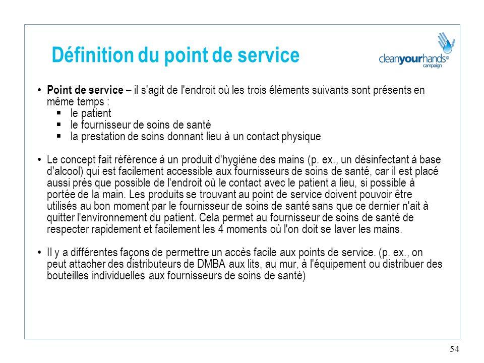 54 Définition du point de service Point de service – il s'agit de l'endroit où les trois éléments suivants sont présents en même temps : le patient le
