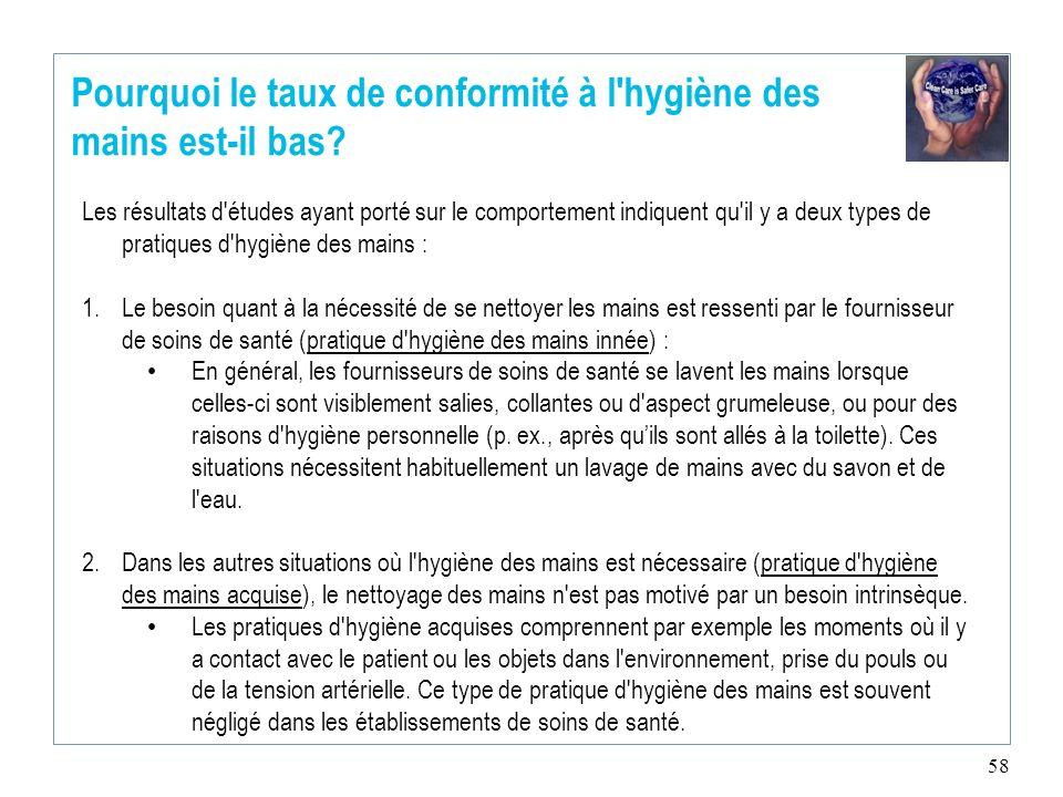 58 Pourquoi le taux de conformité à l'hygiène des mains est-il bas? Les résultats d'études ayant porté sur le comportement indiquent qu'il y a deux ty