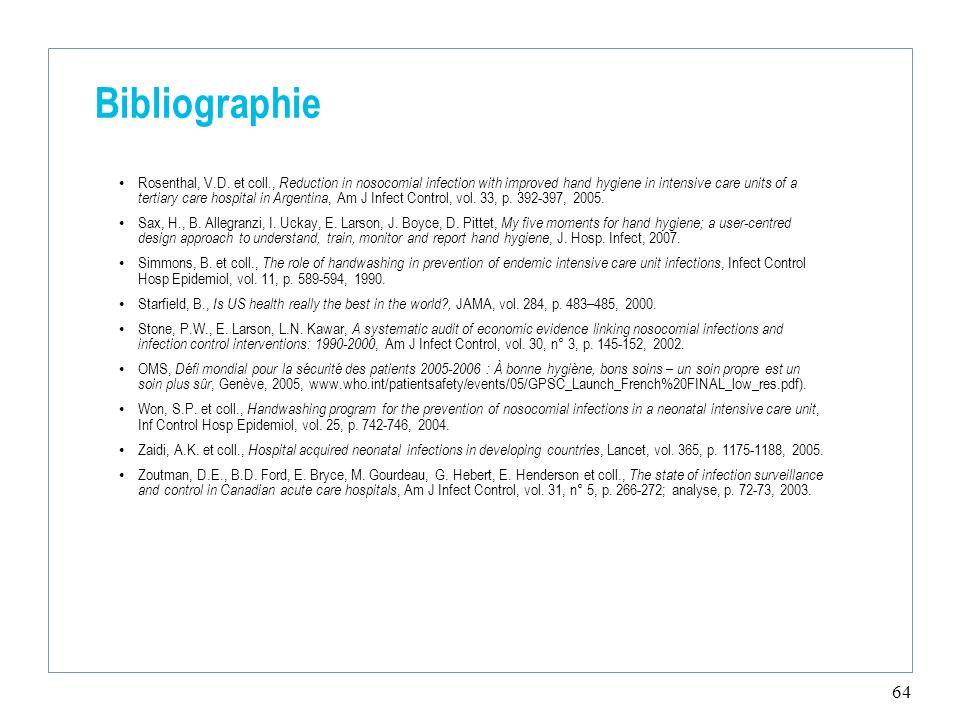 64 Bibliographie Rosenthal, V.D.